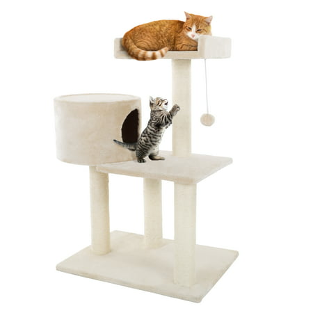 3 Tier Cat Tree- Plush Multi Level Cat Tower with Scratching Posts, Perch Style Bed, Cat Condo and Hanging Toy for Cats and Kittens By PETMAKER