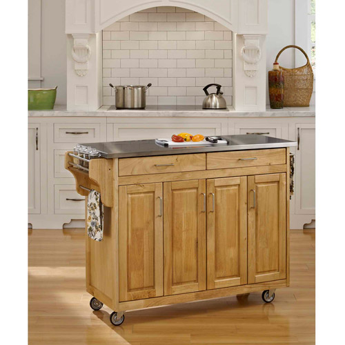 Home styles create a cart natural with stainless top walmart com