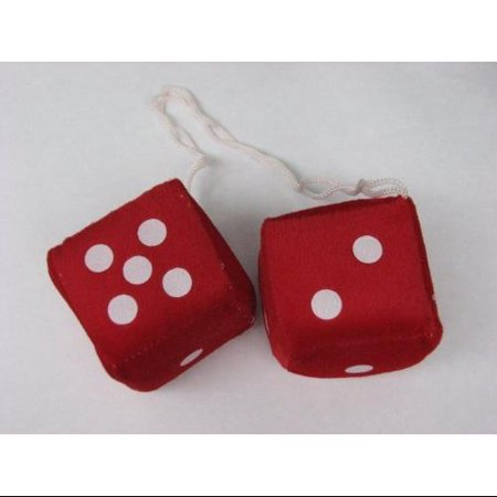 "3"" Fuzzy Dice Red with White Dots"