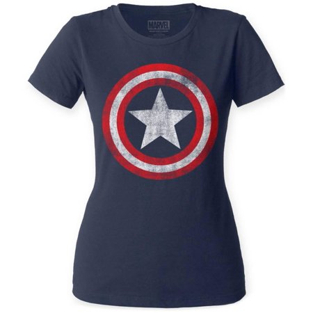Women's: Captain America- Distressed Shield Apparel Womens T-Shirts - Blue
