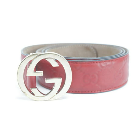 Gucci ssima Belt Red Embossed Leather 95/38 1GK0122