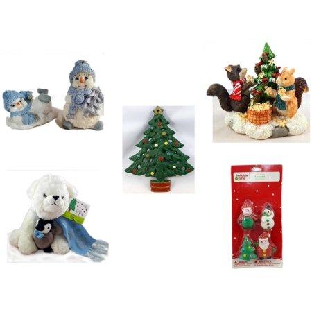 Christmas Fun Gift Bundle [5 Piece] - 1998 Encore Group Snowman Ornaments Set - Forest Friends Gingerbread Tree Resin Figurine - Wrought Iron  Tree Trivet - Bearington White  Bear & Penguin Friend