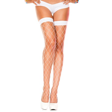 Thigh Hi Stocking BIG DIAMOND NET Hosiery  White or Black