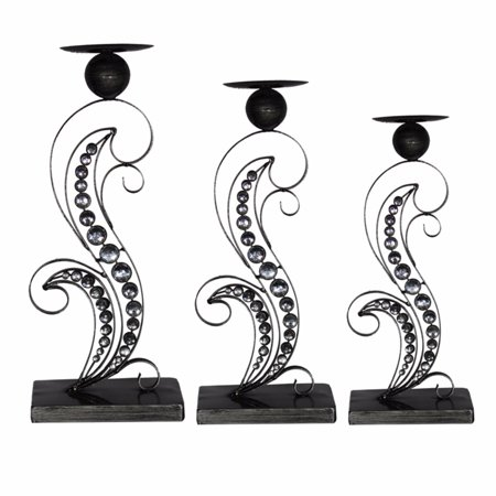 Alluring Metallic Candle Holder, Black, Set Of 3