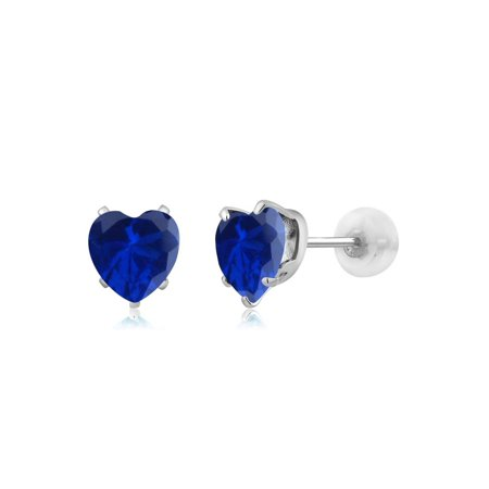 1.60 Ct Heart Shape 6mm Blue Simulated Sapphire 10K White Gold Stud Earrings