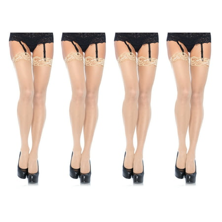 Leg Avenue Women's Plus Size Sheer Thigh High Stockings with Lace Top, Nude, Plus Size, 4-Pair ()