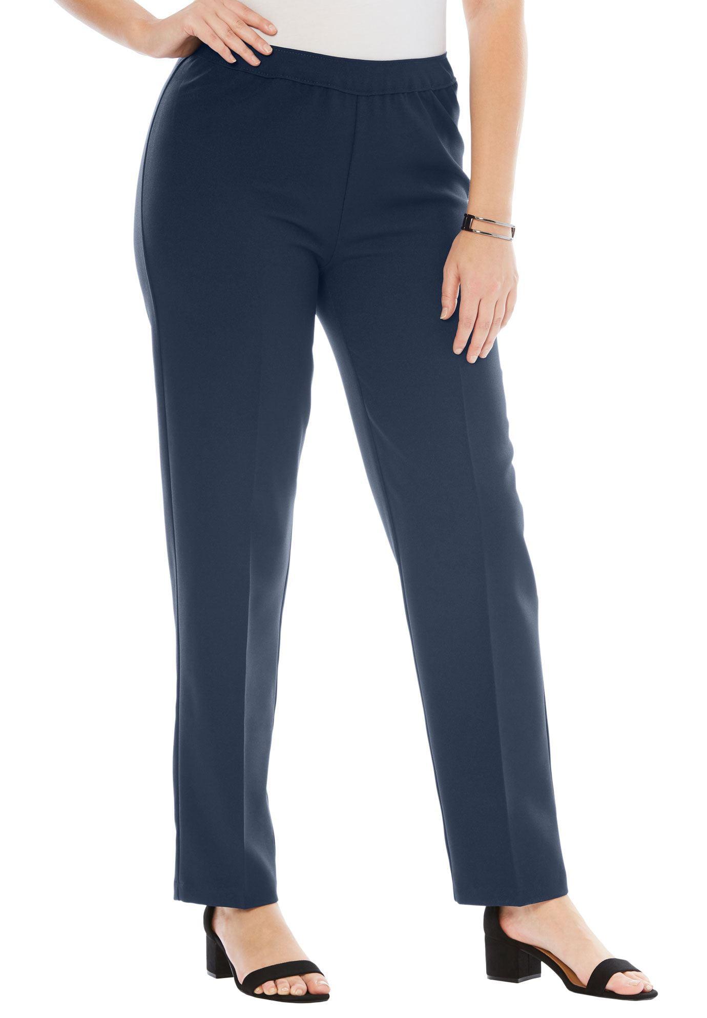 Roamans Plus Size Petite Bend Over Classic Pant