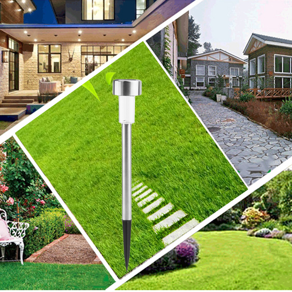 Pure White Garden Lawn Outdoor Fence Path Landscape Light Solar Power LED Lights Solar Panel Stainless Steel Light by