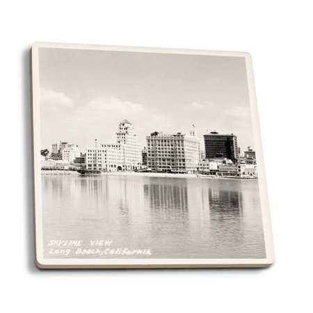 Long Beach, California City Skyline View - Vintage Photograph (Set of 4 Ceramic Coasters - Cork-backed, Absorbent)