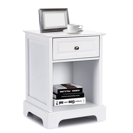 Costway Night Stand Sofa Side Bedside End Accent Table Home Storage ()