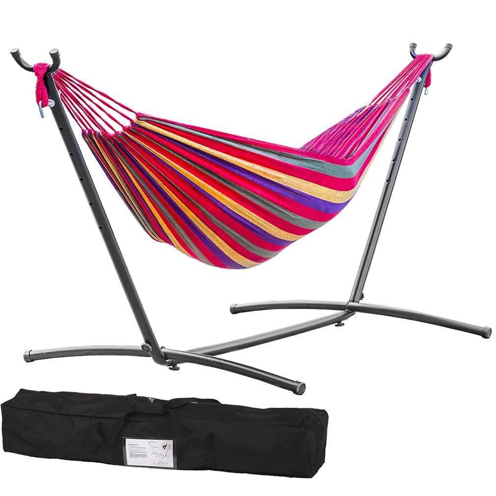 GHP 440-Lbs Capacity Red Polyester Portable Outdoor Hammock w Hammock Stand & Handbag