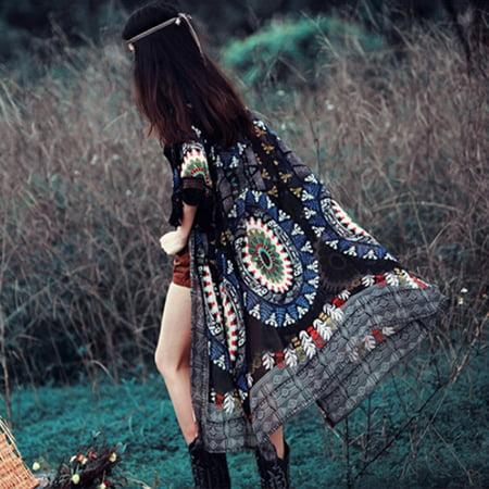Vintage Red Vintage Cardigan - Sexy Boho Womens Vintage Floral Long Cardigan Coat Kimono Blouse Chiffon Tops