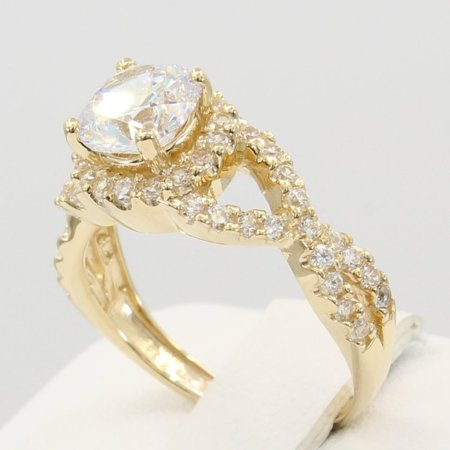 2.00 Ct 14K Real Yellow Gold Round Cut with Pave Set Side Stones 4 Prong Illusion Halo Setting Fancy Cross Over Engagement Wedding Bridal Propose Promise Ring