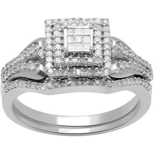 1/3 Carat T.W. Princess and Round Diamond Sterling Silver Bridal Set