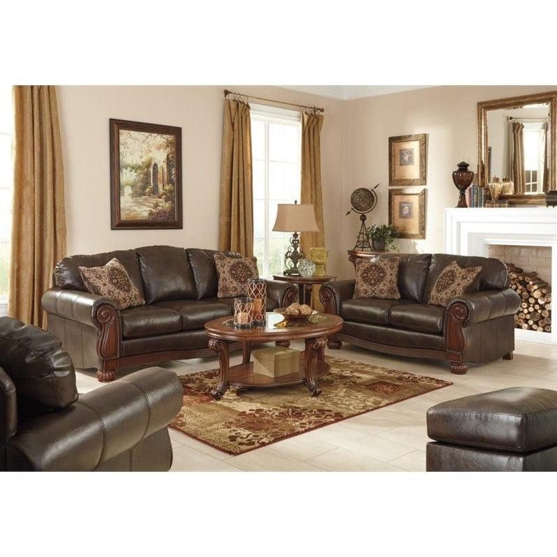 Ashley Rodlann 4 Piece Leather Sofa Set in Antique