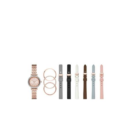 Time and Tru Interchangeable Bezel and Strap Watch Set Princess Bezel Set