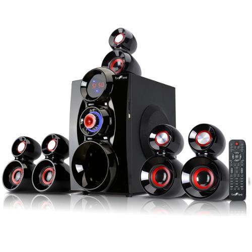 beFree Sound BFS-600 5.1 Channel Surround Sound Bluetooth Speaker System- Red