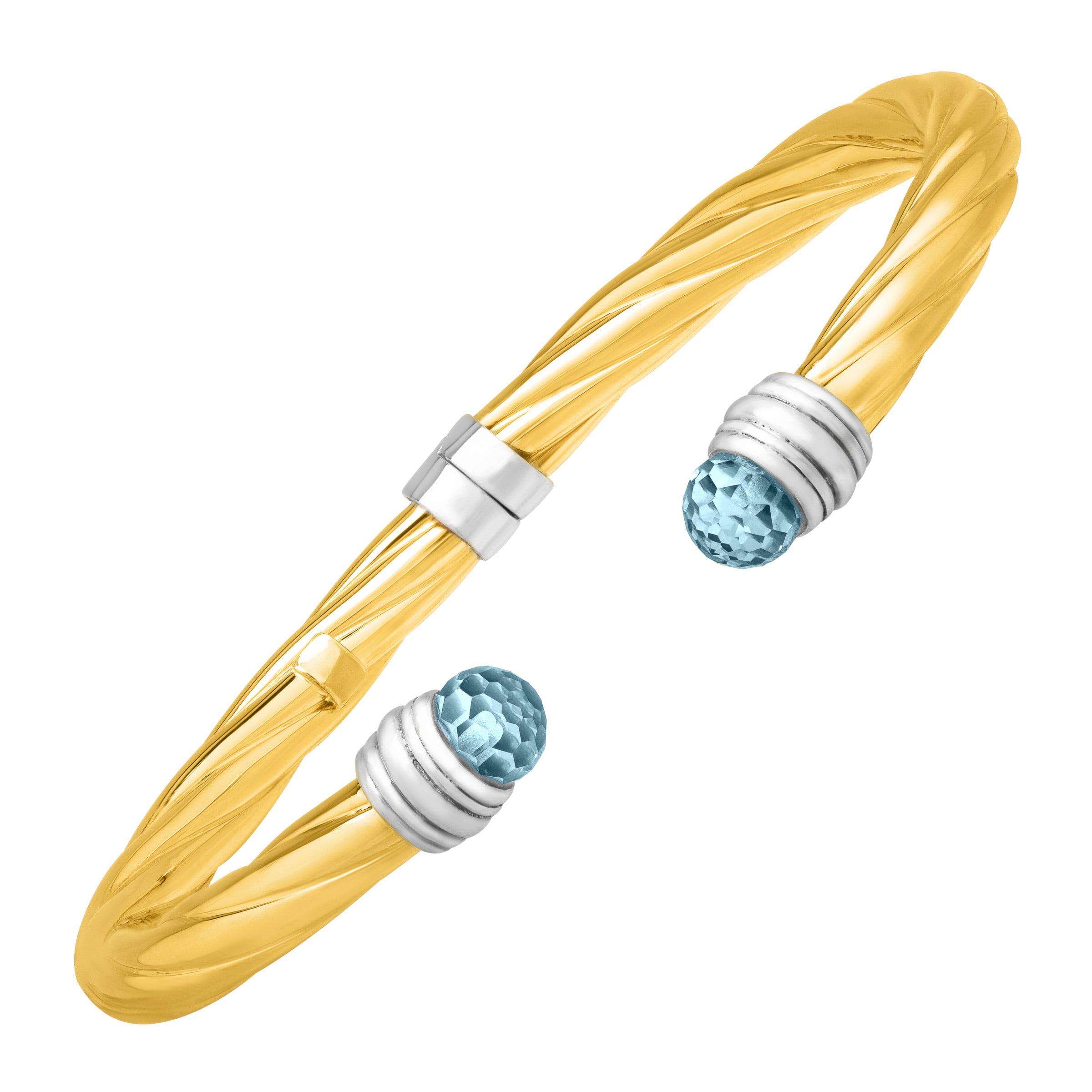Duet Sky Blue Topaz Cuff Bracelet in Sterling Silver & 14kt Yellow Gold by Richline Group