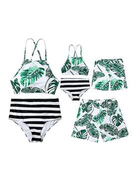 Family Matching Swimsuit Parent-Child Leaves Print Swimwear Beachwear 2 Pieces Bikini Sets 1 Piece Swim Shorts