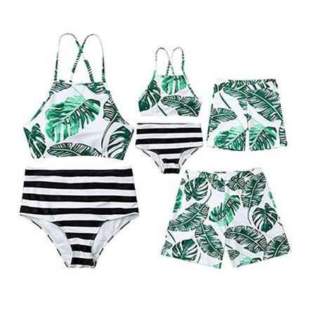 Family Matching Swimsuit Parent-Child Leaves Print Swimwear Beachwear 2 Pieces Bikini Sets 1 Piece Swim Shorts 2 Piece Swing Set