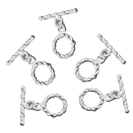DIY Jewelry Making Tools Set of 5 Silvertone Twisted Wire Toggle Clasps