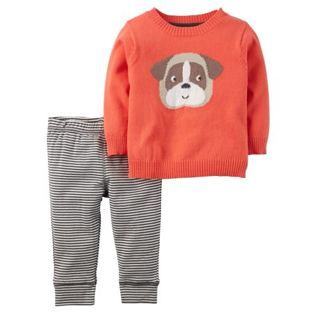 Carters Baby Clothing Outfit Boys 2-Piece Little Dog Sweater Set - Boy Dog Outfits