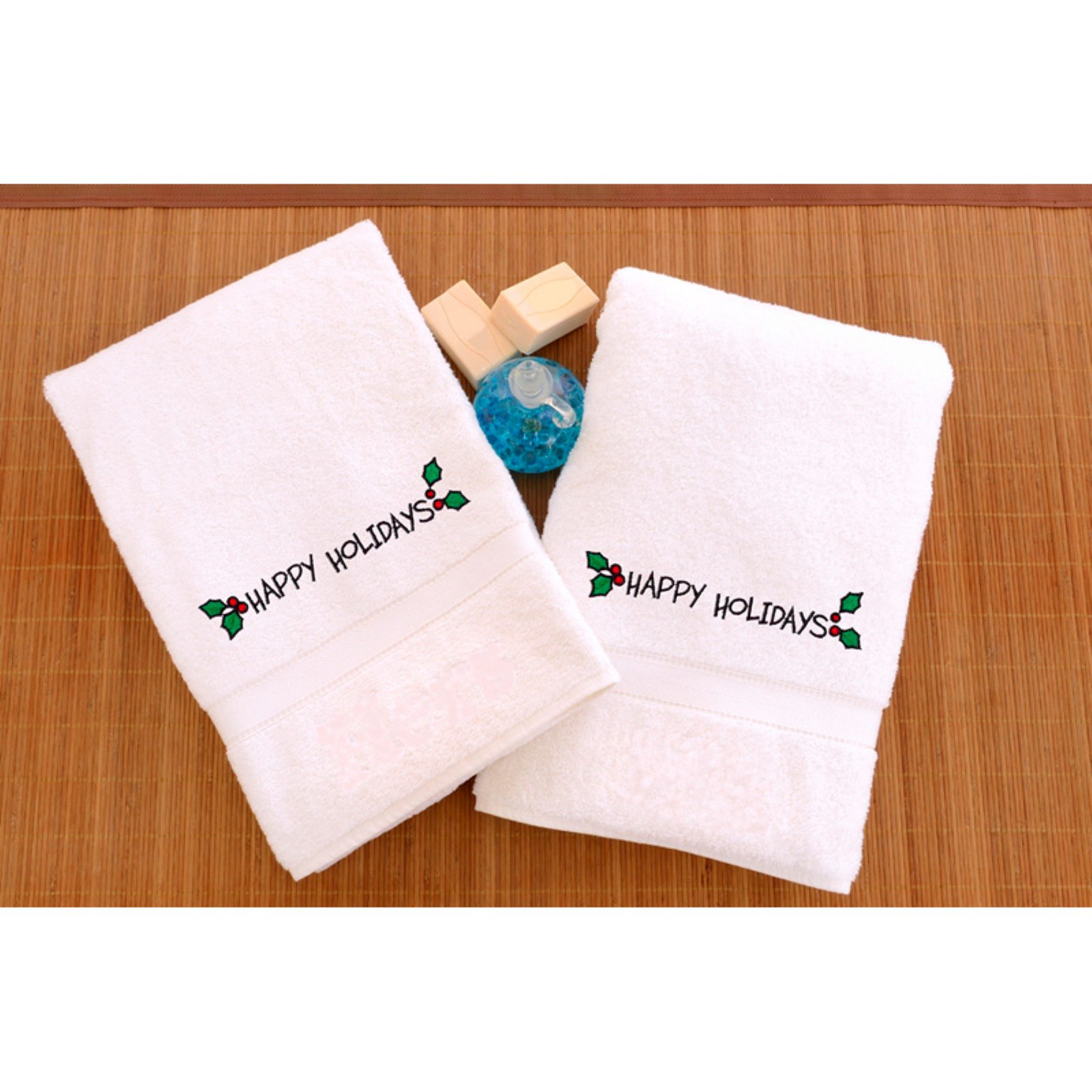 Embroidered Hand Towels with Happy Holiday with Ornament - Set of 2