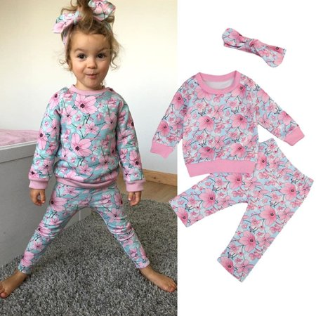 Adorable Baby Girls Flowers Long Sleeve Tops Sweatshirt Pants Clothes Outfits UK
