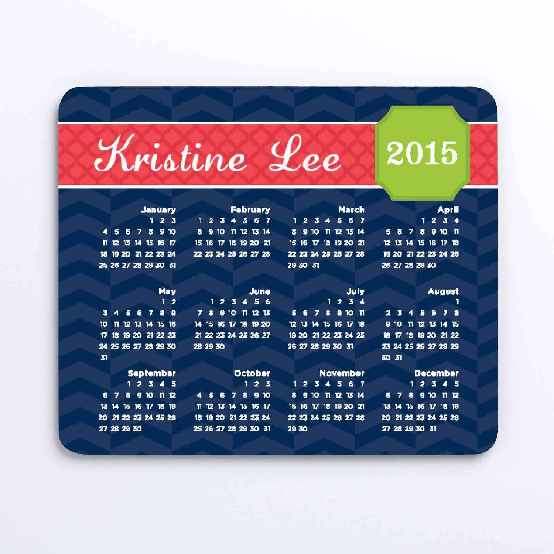 Personalized My Calendar Mouse Pad, Blue Chevron