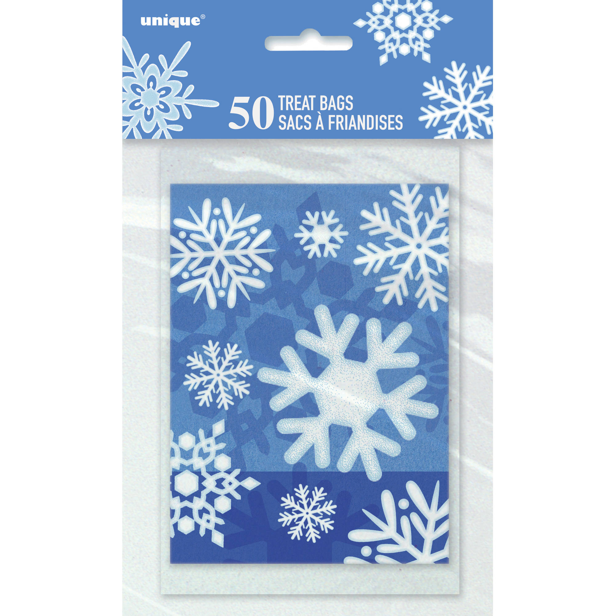 Winter Snowflake Holiday Treat Bags, 50-Count