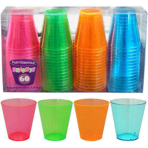Plastic Neon Shot Glasses (Pack of 60)