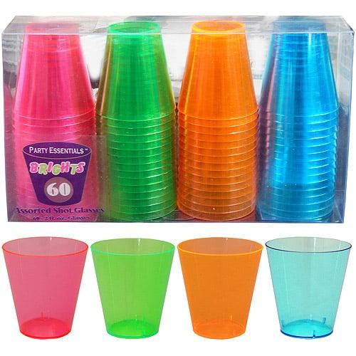Plastic Neon Shot Glasses (Pack of 60)