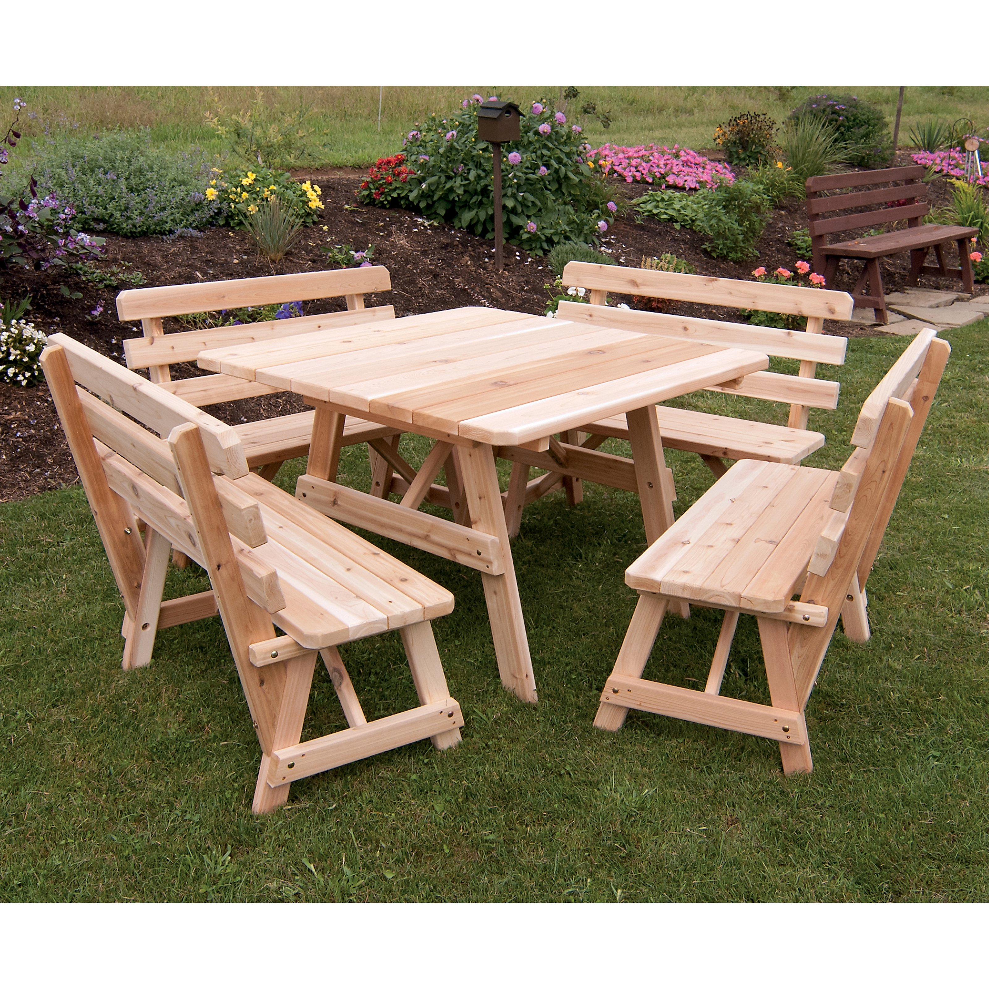 A & L Furniture Pine Cross Legged Picnic Table with Benches