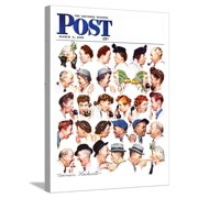 """""""Chain of Gossip"""" Saturday Evening Post Cover, March 6,1948 Stretched Canvas Print Wall Art By Norman Rockwell"""