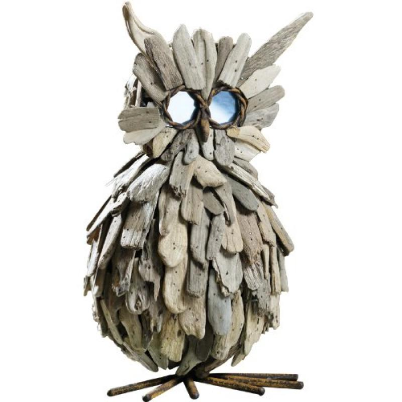 Caffco International Standing Driftwood Owl with Mirrored...