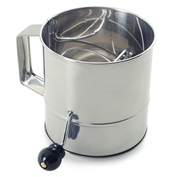 Norpro 145 Polished 3-Cup Stainless Steel Hand Crank Flour Sifter by Norpro
