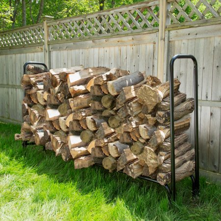 8 Foot Firewood Log Rack with Cover by Pure Garden ()