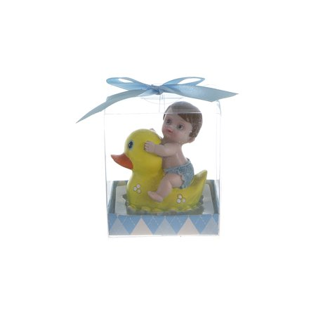 Mega Favors Keepsake Figurine 12 pcs Baby Boy Riding on Rubber Ducky| Awesome Decorations or Party Favors | for Pregnancy Announcements, Gender Reveals, Birthday and Special Celebrations