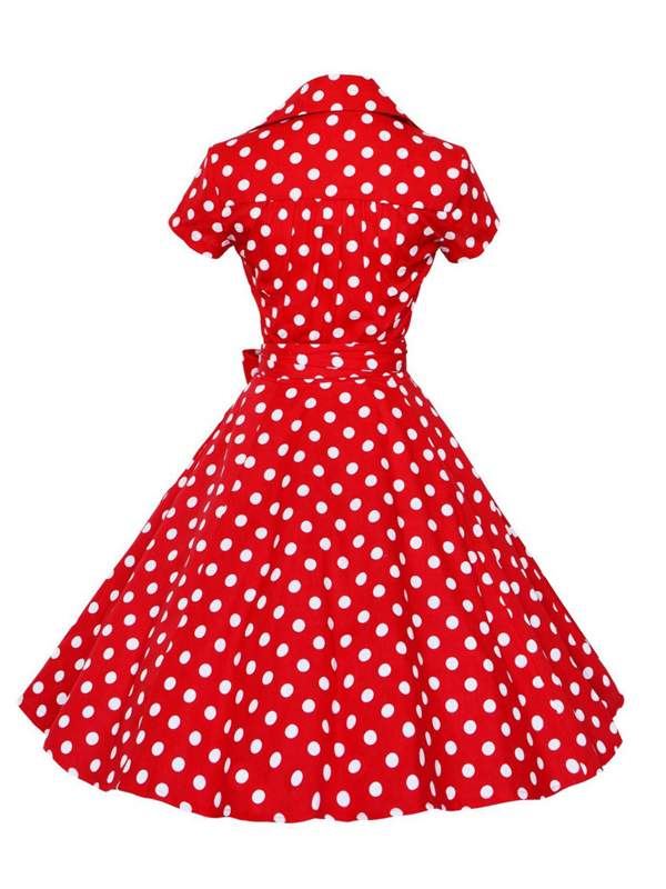 4733bdb9c1ef5 Winsellers - Winsellers Women Vintage Fashion Classical Style Summer Dress  Polka Dot Short Sleeve Big Swing Dresses - Walmart.com