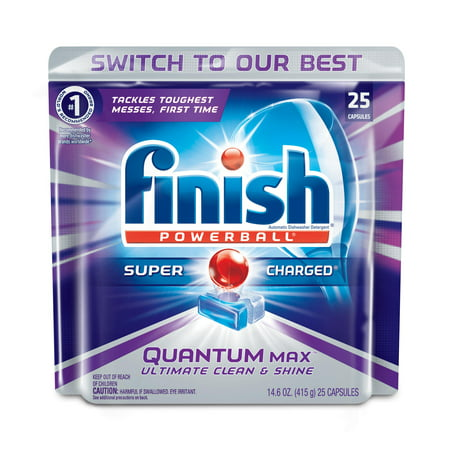 Finish Quantum Max Powerball Dishwasher Detergent Tablets  25 Count