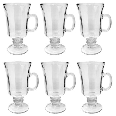 Set of 6 Thick Wall Glass Footed Irish Coffee Glass Mugs Regal Shape 8.25 oz. Cappuccinos, Mulled Ciders, Hot Chocolates, Ice cream and More! Shape Glass Award