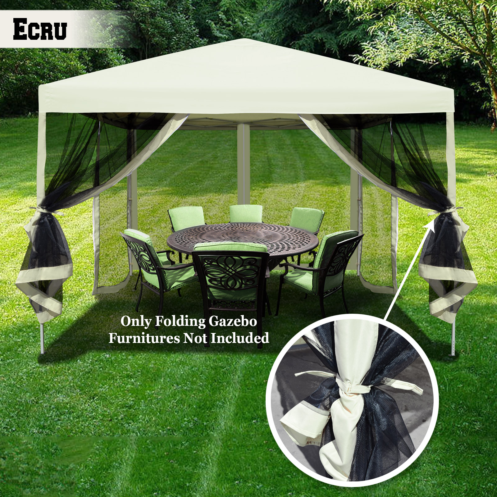 Strong Camel Easy Pop Up Canopy Tent 10-Feet x 10-Feet Gazebo with Mesh Side Walls Screen House-Ecru - Walmart.com & Strong Camel Easy Pop Up Canopy Tent 10-Feet x 10-Feet Gazebo with ...