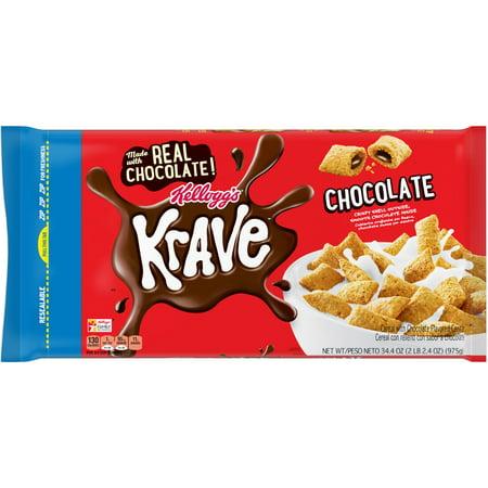 (2 Pack) Kellogg's Krave Breakfast Cereal 34.4 Oz. Bag