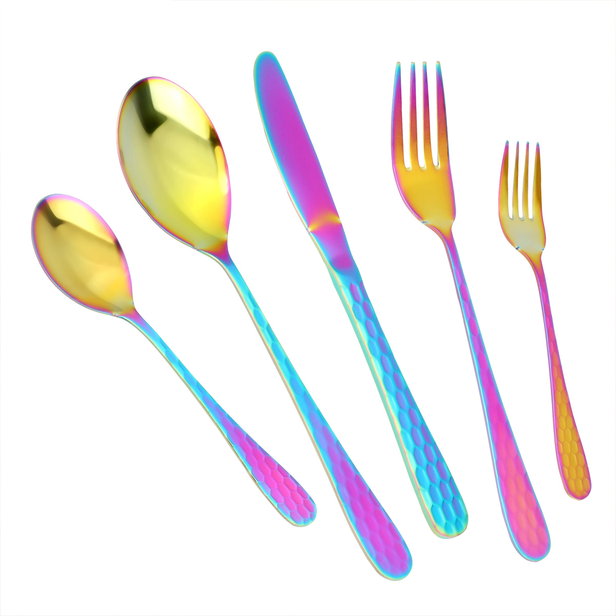 MDEALY 30-Piece Rainbow Silverware Flatware Cutlery Set, Stainless Steel Kitchen Utensils Service for 6, Include Dinner Knives,Dinner Forks,Dinner Spoons,Salad Forks,Teaspoons, Multicolor Elegant Gift