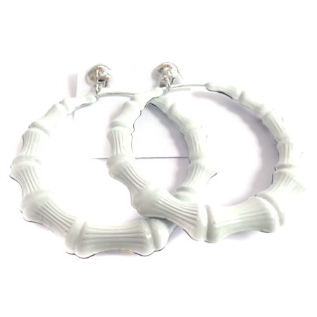 Clip-on Earrings White Bamboo Hoop Earrings 3 inch - Bamboo White Earrings