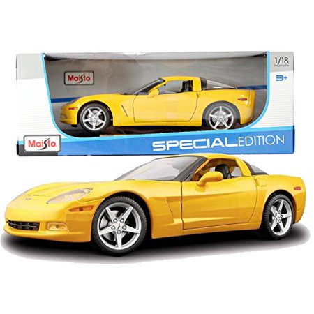 24 Yellow Die Cast Car (Maisto Year 2014 Special Edition Series 1:18 Scale Die Cast Car Set - Yellow Color 2005 CHEVROLET CORVETTE COUPE with Display Base (Car Dimension: 9