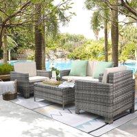 Walnew 4 Pieces Outdoor Patio Furniture Sets Gray Rattan Chair Wicker Conversation Sofa Set, Outdoor Indoor Backyard Porch Garden Poolside Balcony Use Furniture (Beige)