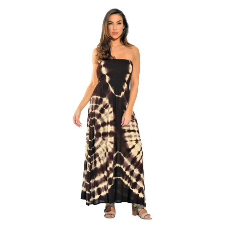 823a6ac85c4 Riviera Sun - Convertible Tie Dye Smock Chest Maxi Dress (Brown   Beige