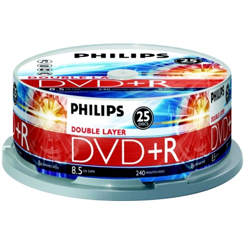 Philips DR8S8B25F DVD Recordable Media - DVD+R DL - 2.4x - 8.50 GB - 25 Pack Spindle - image 1 of 1