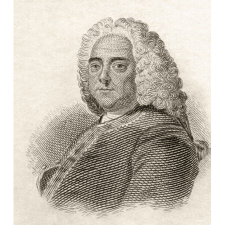 George Frideric Handel 1685 To 1759 German-British Baroque Composer From Crabbs Historical Dictionary Published 1825 Canvas Art - Ken Welsh Design Pics (26 x 30)